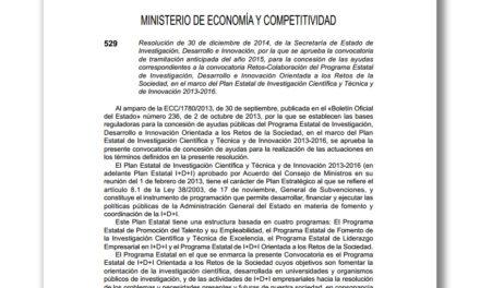 Abierta la convocatoria Retos-Colaboración 2015 hasta el 24 de febrero
