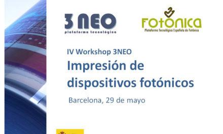 IV Workshop 3NEO. Impresión de dispositivos fotónicos